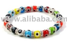 Crystal Evil Eye Bracelet in 6mm glass multicolor beads (thin cut)