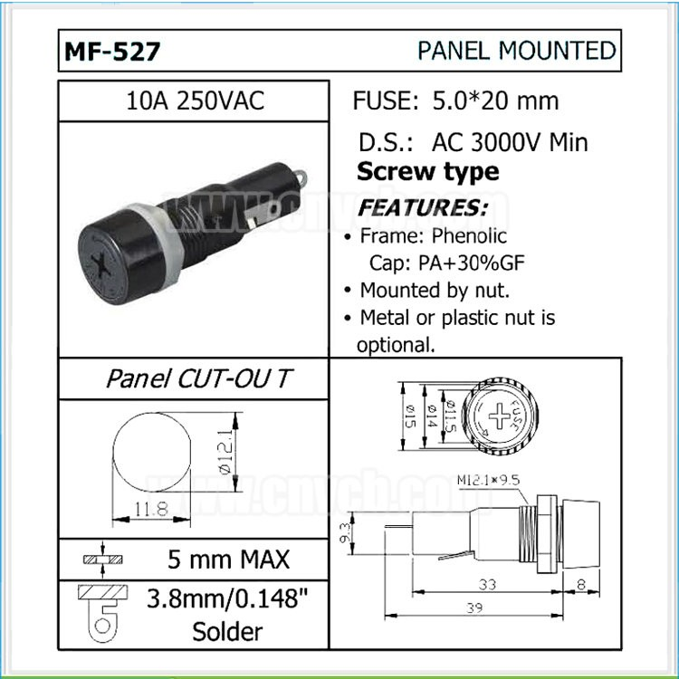 FH06 MF-527 10A 250VAC 11.8mm panel mount auto fuse holder