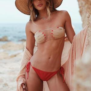 7b88b20408 Online Star Hand Pint Strapless Bra Transparent Bikini Bathing Suits  Swimwear Women 2018