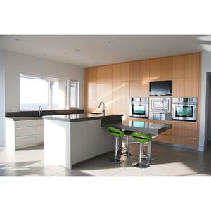 Fancy Wood Timber Veneer Finish Kitchen Cabinets