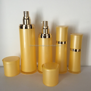 In stock matte gold colour cosmetic packaging 30ml 60ml 120ml lotion bottles shangyu city cosmetic essence bottles