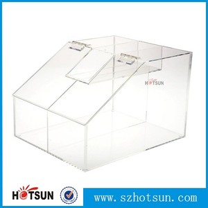 Bulk acrylic dispenser scoop holder, plexiglass candy box, retail store supermarket acrylic candy bin and dry food container