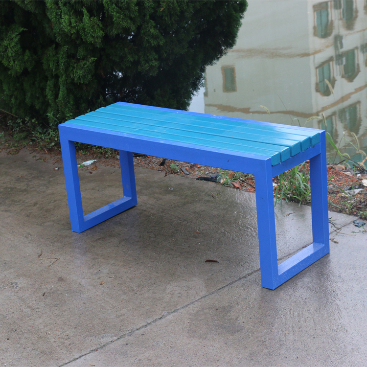 Solid Wood Bench Porch Rustic Slat Wood Seat With Blue