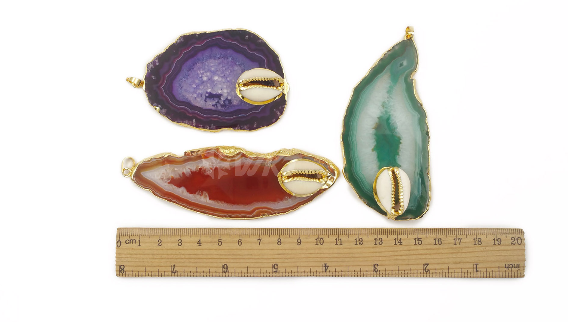 WT-P1452 Women gold plated slice agate with cowrie charm stone pendant natural big stone agate pendant