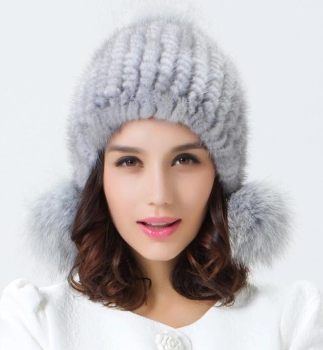 New Arrival Real Mink Hats Women Knitted Genuine Mink Fur Beanies Skullies Fur  Hat With Pom Poms Free Shipping YH064 8ffc174f6bb9
