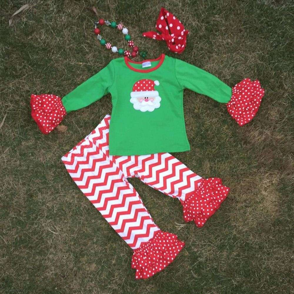2T-7 Christmas Santa outfits new girls design green top red chevron pant with matching necklace and headband set