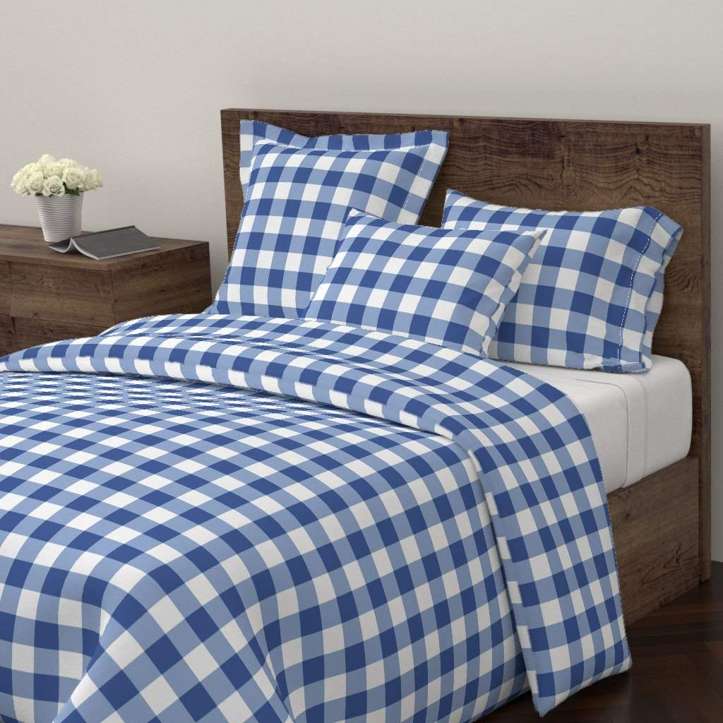 Roostery Buffalo Duvet Cover Plaid Check Blue Navy Boy by Domesticate 100% Cotton Twin Duvet Cover