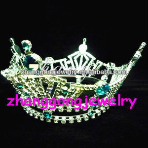 Wholesale fully Round Large Rhinestone Kings pageant Crown