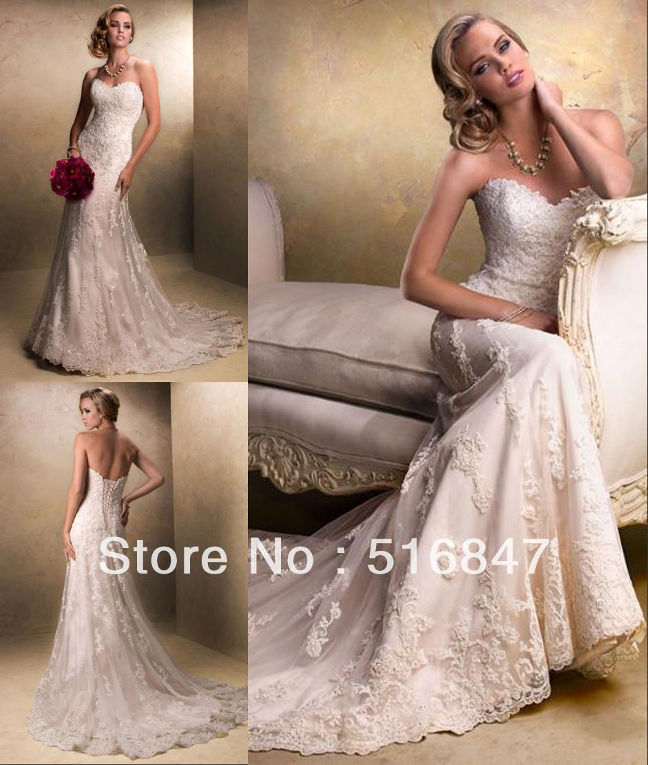 Stock New Style Ivory/white Long Tulle Strapless Applique