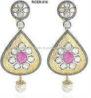 14k Yellow Gold Rose Cut Diamond Victorian Dangle Earrings Jewelry Precious Ruby Gemstone Designer Wholesale Earrings