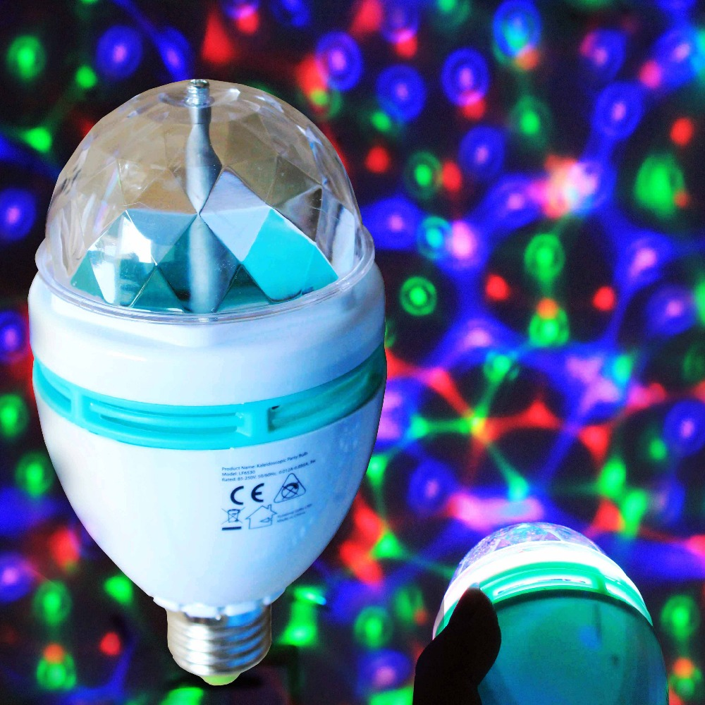 CE ROHS REACH approved 3W power RGB colors rotating party decoration led <strong>bulb</strong>