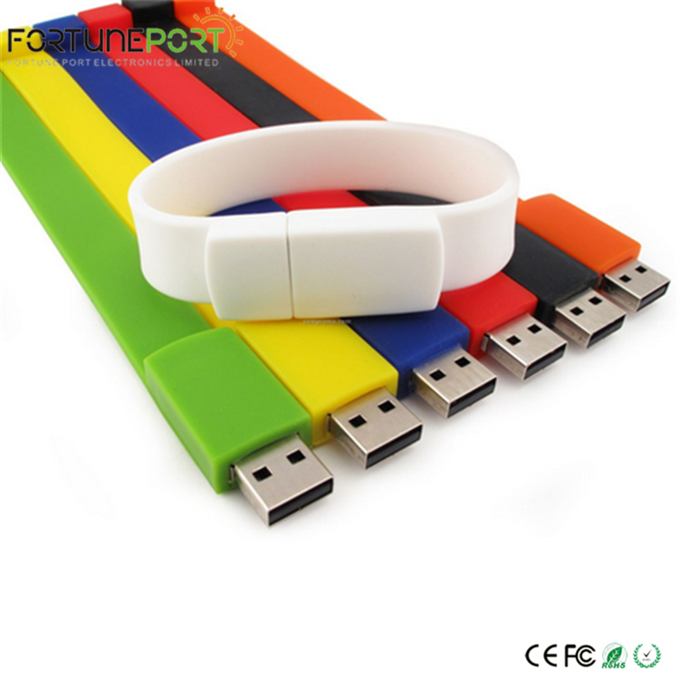 Customized Christmas Gift Flash Pendrive USB Bracelet Wristband USB Flashdrive 1gb to 64gb Logo USB Flash Drive