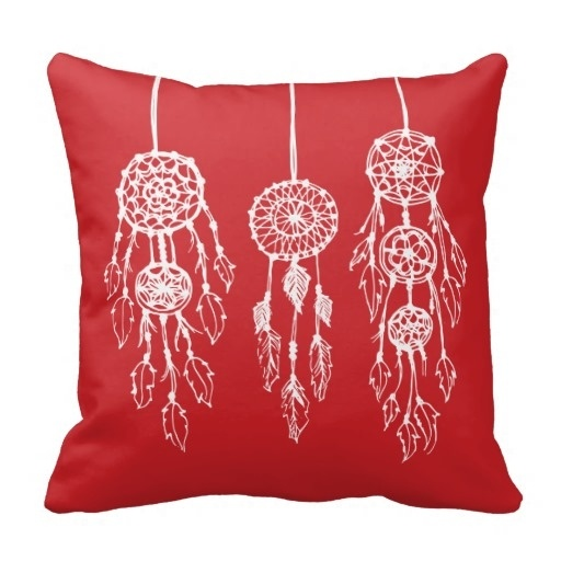 Fashion Pillow Cases Red Illustrated Bohemian Dreamcatchers Pillow Case (Size: 20
