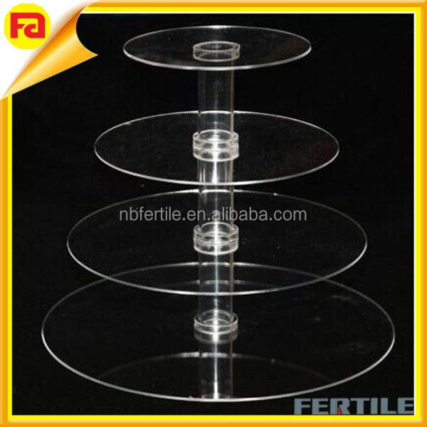 WFZ trade assurance NEW 4 Tier Clear Acrylic Stacked Party Cupcake Dessert Tower Stand