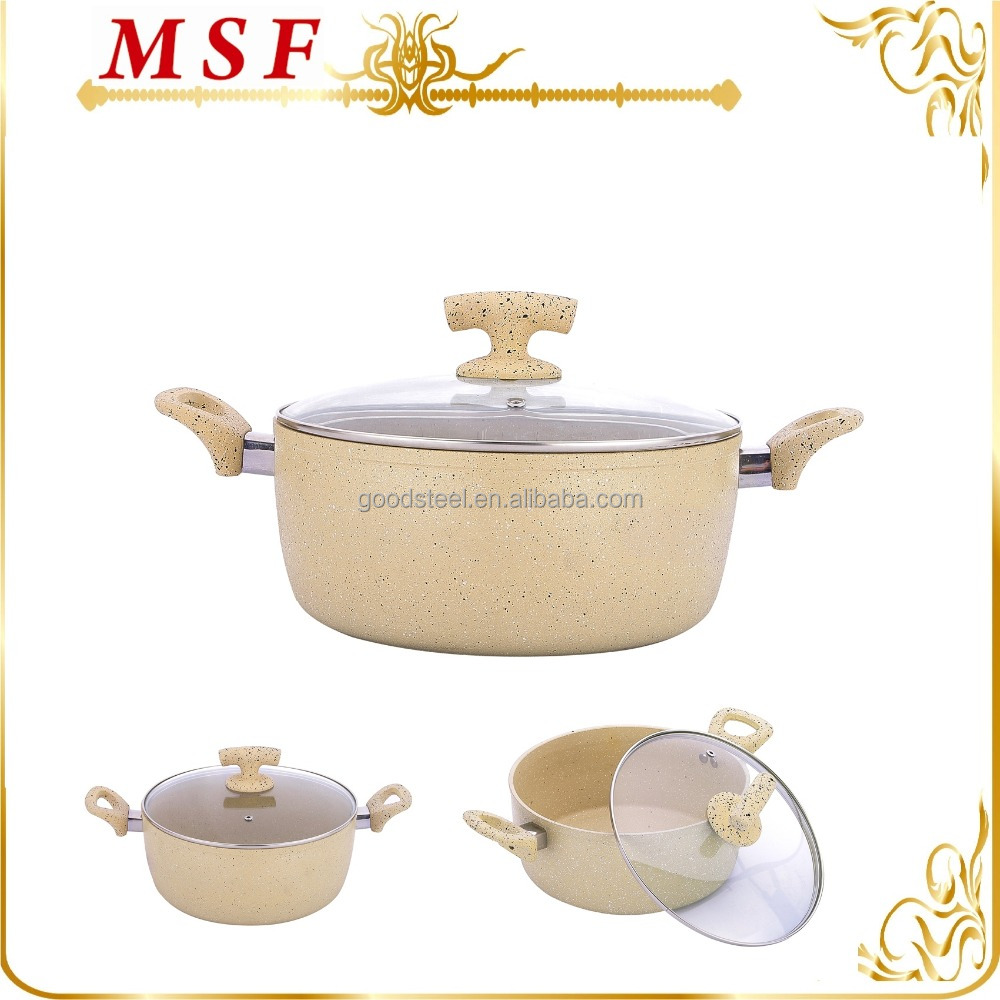 MSF-6715-Casserole aluminum hot pot keep the warm food in casserole heat resistant glass cover soft touch silicon handles