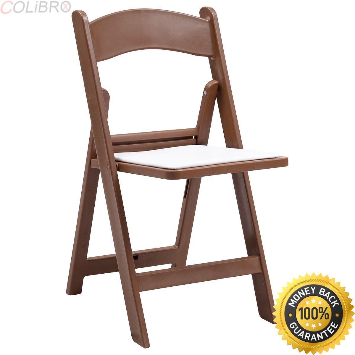 31793f169c90 Get Quotations · COLIBROX--Set of 4 Plastic Folding Chairs PU Leather Seat  Stackable Wedding Party Brown