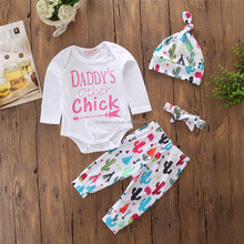 2018 Daddys Other Chick Spring Autumn 4Pcs Newborn Baby Girls Long Sleeve Cactus Print Romper Pants Hat Headband Outfits