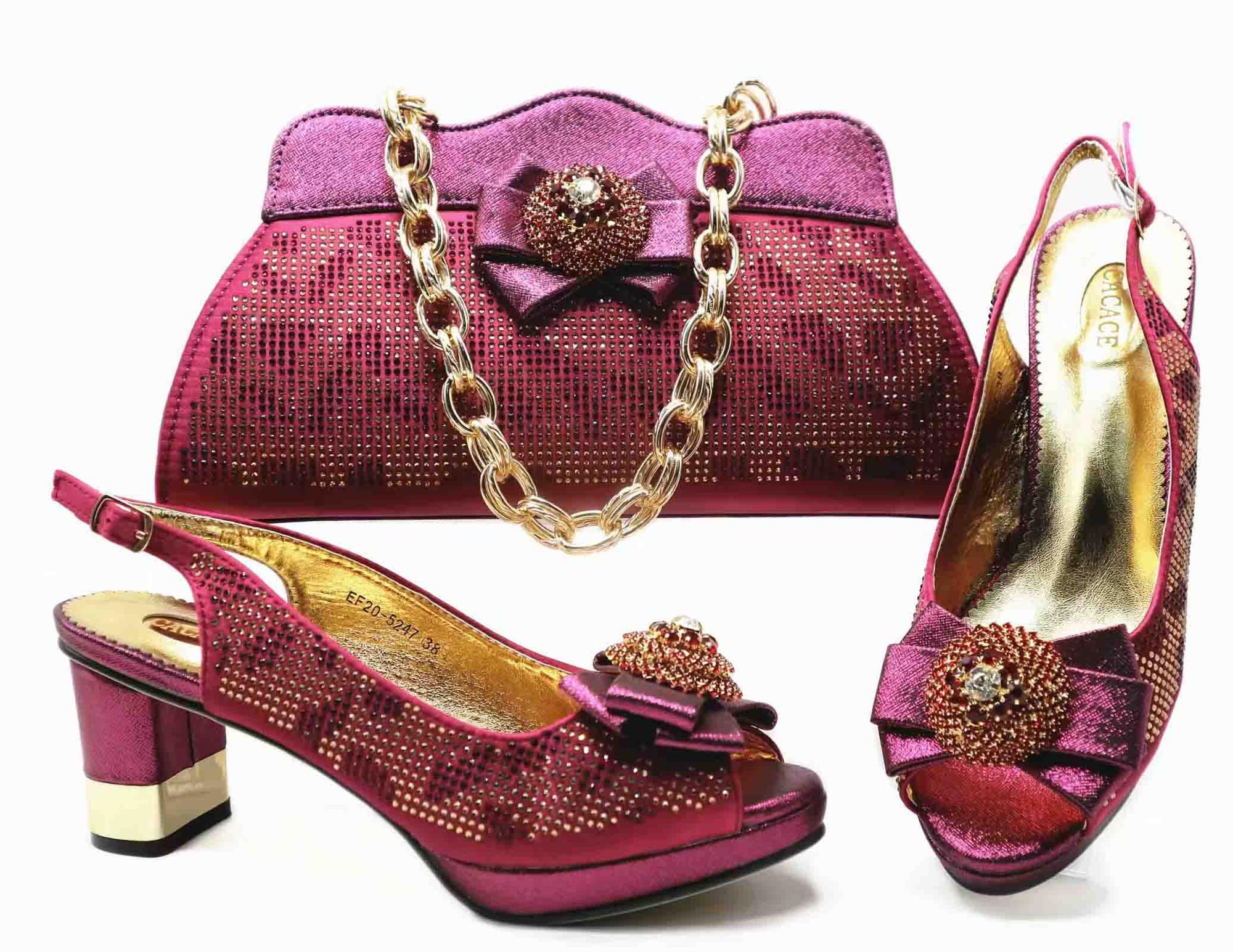 08bf55b6d6c80 2019 de mujer de cuero genuino italiano mujeres fucsia zapatos con bolso a juego  para fiesta
