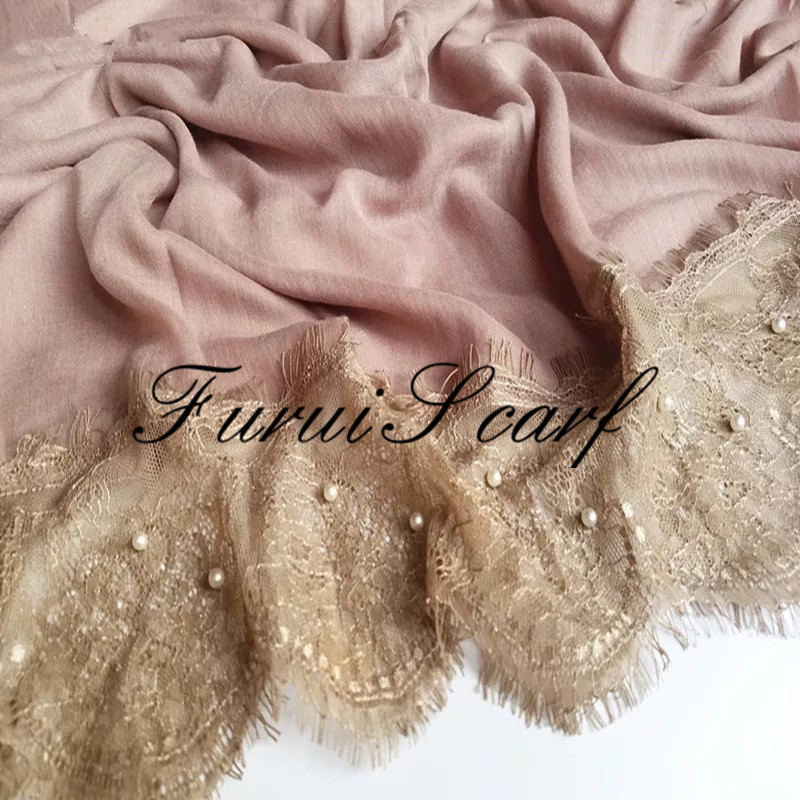 Newest Luxury Large Size Lace With Pearl Plain Soft Hijab