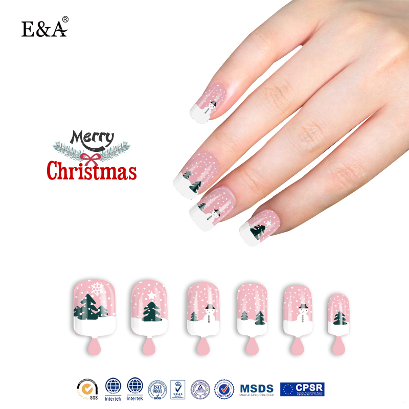 EA pink lovely artificial fake nail fashion christmas nail tips for girls