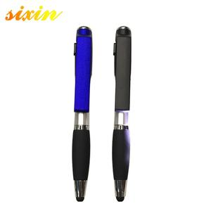 4 in 1 pen with Custom logo Plastic Pen Cell phone holder pen with light and touch screen
