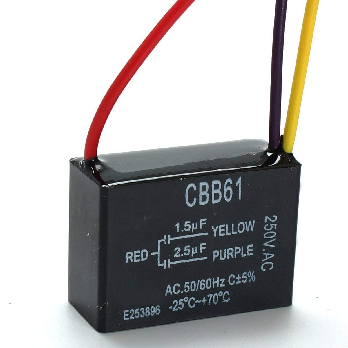 LOCHI 1pc Black Fan Capacitor CBB61 1.5uF+2.5uF 3 Wires AC 250V 50/60Hz Capacitor for Ceiling Fan
