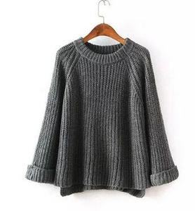 New korean a code word big loose sweaters thick coarse knitting sweater cuff volume women pullover top ladies knitwear