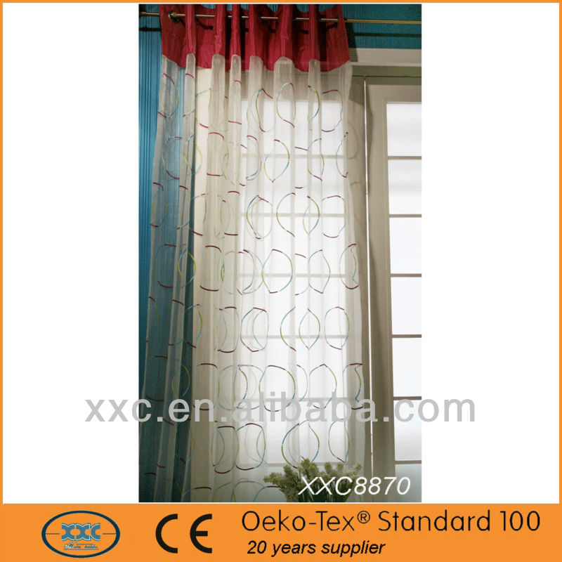 Circle shape embroidery Window Curtain window curtain models