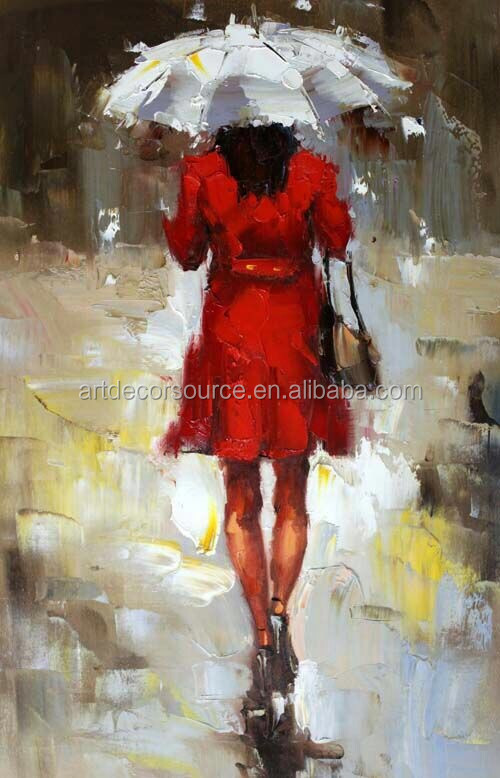 Knife Oil Painting Of Red Coat Woman With Umbrella Buy Knife Oil
