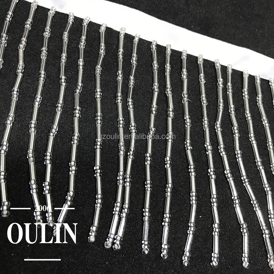 fringes type lace trim with beads glass tube lace trim designs silver color tassel trims can be customized the size