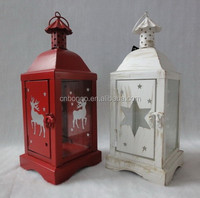 christmas red metal candle lantern with clear glass