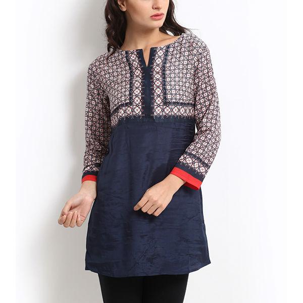 2014 New Design Women 3/4sleeve Deep Blue Printed Indian Long ...