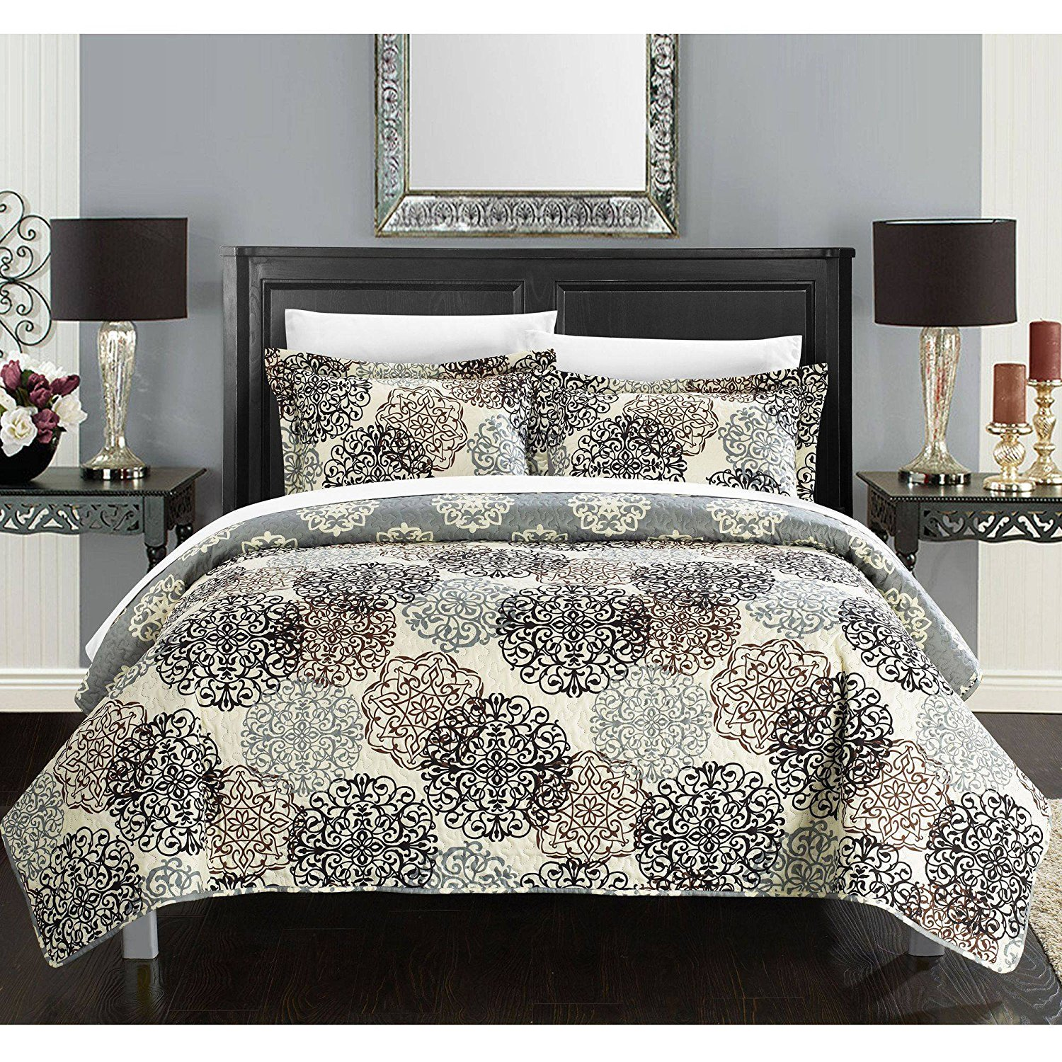 3 Piece Beige Off White Jacquard Motif Floral Quilt Set King, Black Grey Brown Medallion Oriental Boho Geometric Abstract Flower Adult Bedding Master Bedroom, Reversible Mandala Printed, Microfibre