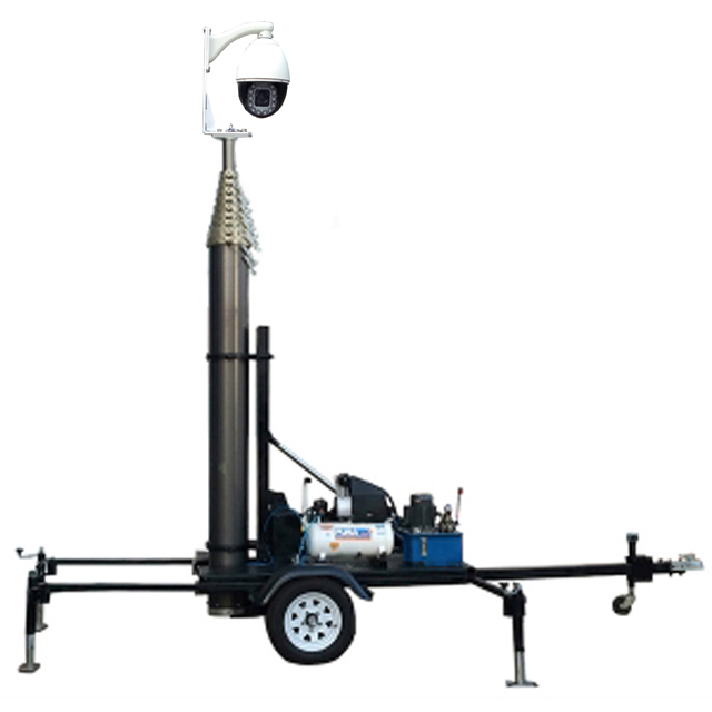 mobile trailer mounted high telescopic antenna mast tower and telescoping mast pole