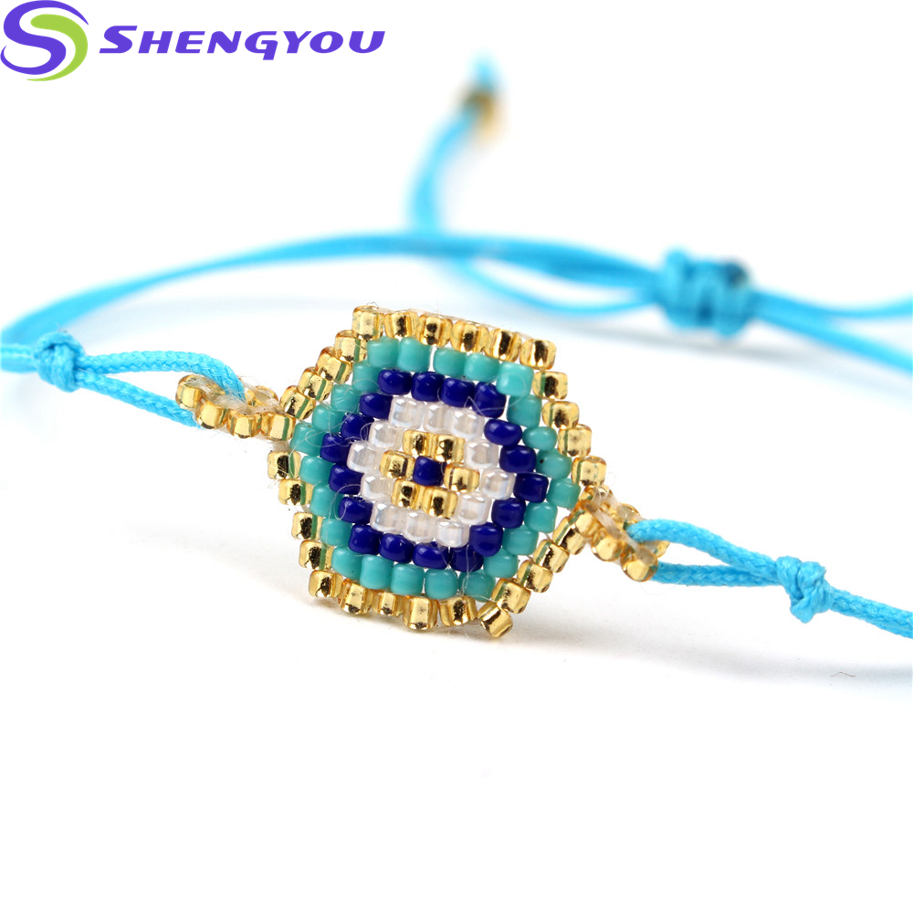 Handmade jewelry Seed Beads Woven Colorful Rectangle Charm Bracelet Women