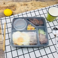 1200ML disposable food container plastic lunch boxes reusable food packaging takeaway containers bento box 5 compartments