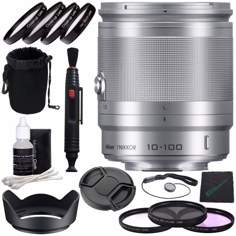 Nikon 1 NIKKOR 10-100mm f/4.0-5.6 VR Lens (Silver) + 55mm 3 Piece Filter Set (UV, CPL, FL) + 55mm +1 +2 +4 +10 Close-Up Macro Filter Set with Pouch + Lens Cap + Lens Hood + Lens Cleaning Pen Bundle