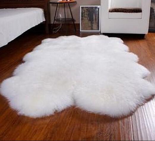 Alfombra alfombra alfombra de piel de oveja de pelo largo blanco y te negro alfombra - Alfombra oveja ...