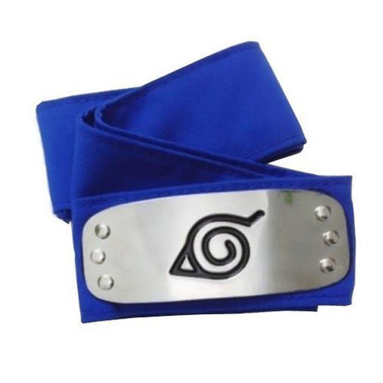 Get Quotations · Hot Anime Naruto Costume Headband Leaf Village Logo Konoha  Kakashi Tobi Obito (Blue) 4c65974fe95