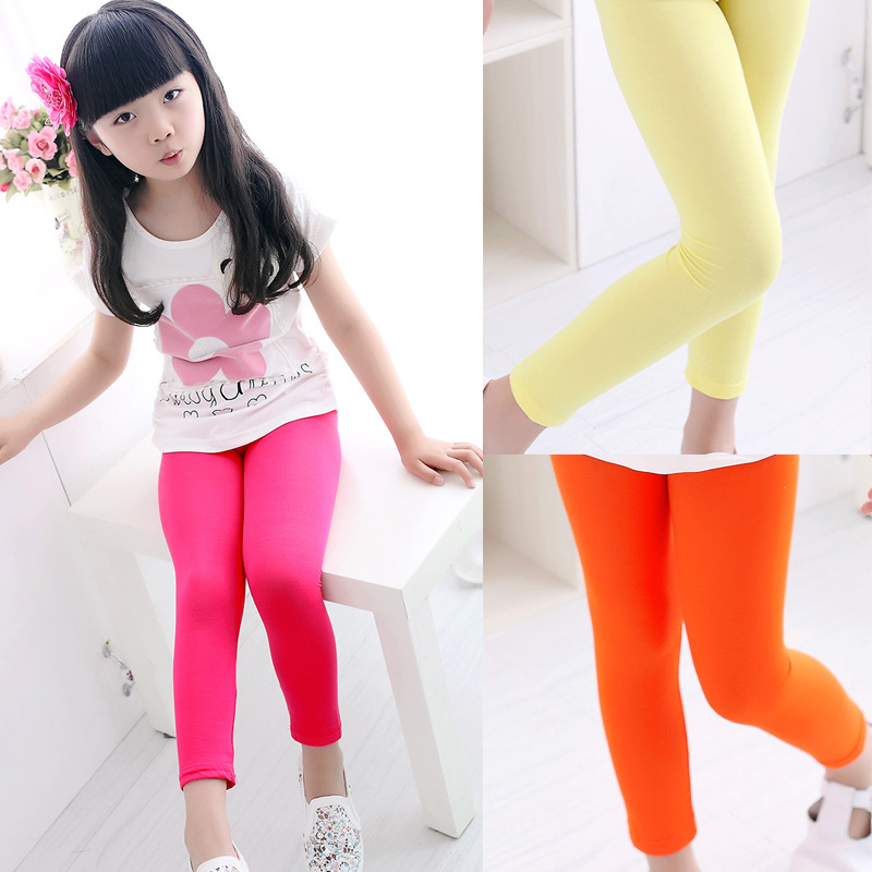 High quality 2015 spring kids leggings for girls candy colors Children stretch baby casual cotton pants