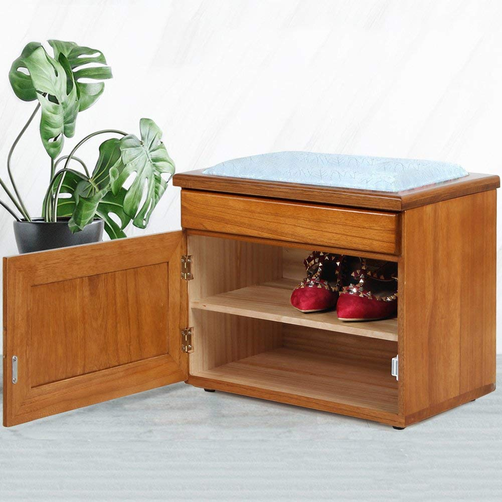 Multifunction Drawer Solid wood Shoe stool,Storage box Storage stool Shoe rack Shoes stool Shoe Cabinet Shoebox Shoescase-Brown