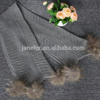 Hot Sale Unique Knitted Long Winter Scarf With Six Real Raccoon Fur Pompoms
