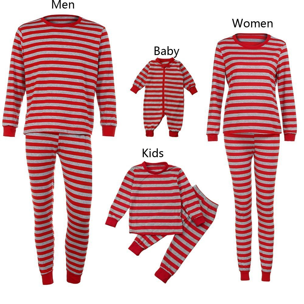 090b53191a Get Quotations · Christmas Pajamas - Family Matching Christmas Pajamas Sets  Striped Blouse +Pants Sleepwear Outfits
