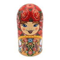 Traditional tin doll shaped tea box for souvenir
