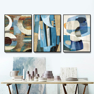 Top Selling Abstract Geometry 3 Panels Group Painting Print Wholesale Frame Wall Art abstract art