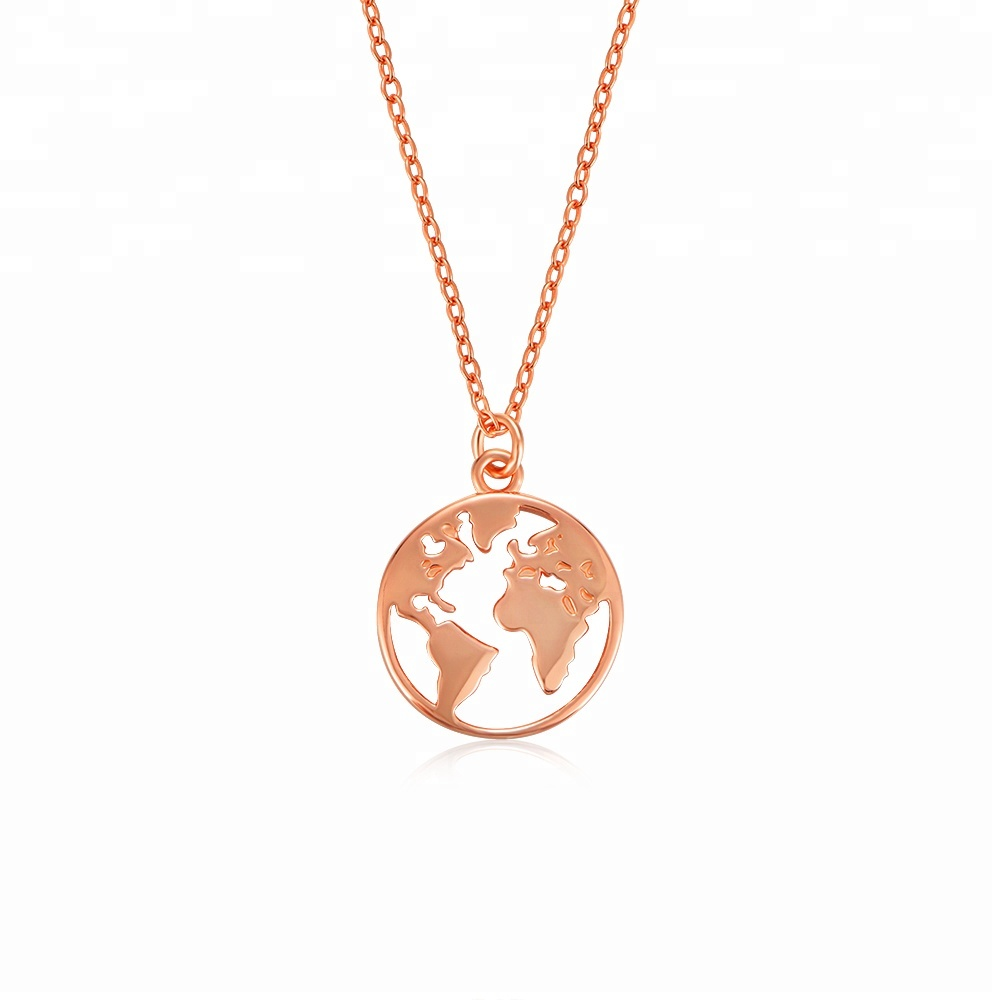 Customized Personalized 18K Gold Plated Dainty World Map Pendant Necklace фото