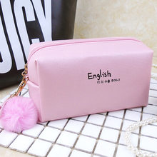 Fashion Pink Wholesale lady makeup bag travel cosmetic bag leather pouch organizer