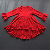 new fashion hot pink baby clothes long sleeve cotton kids clothing ruflle dress children frocks designs