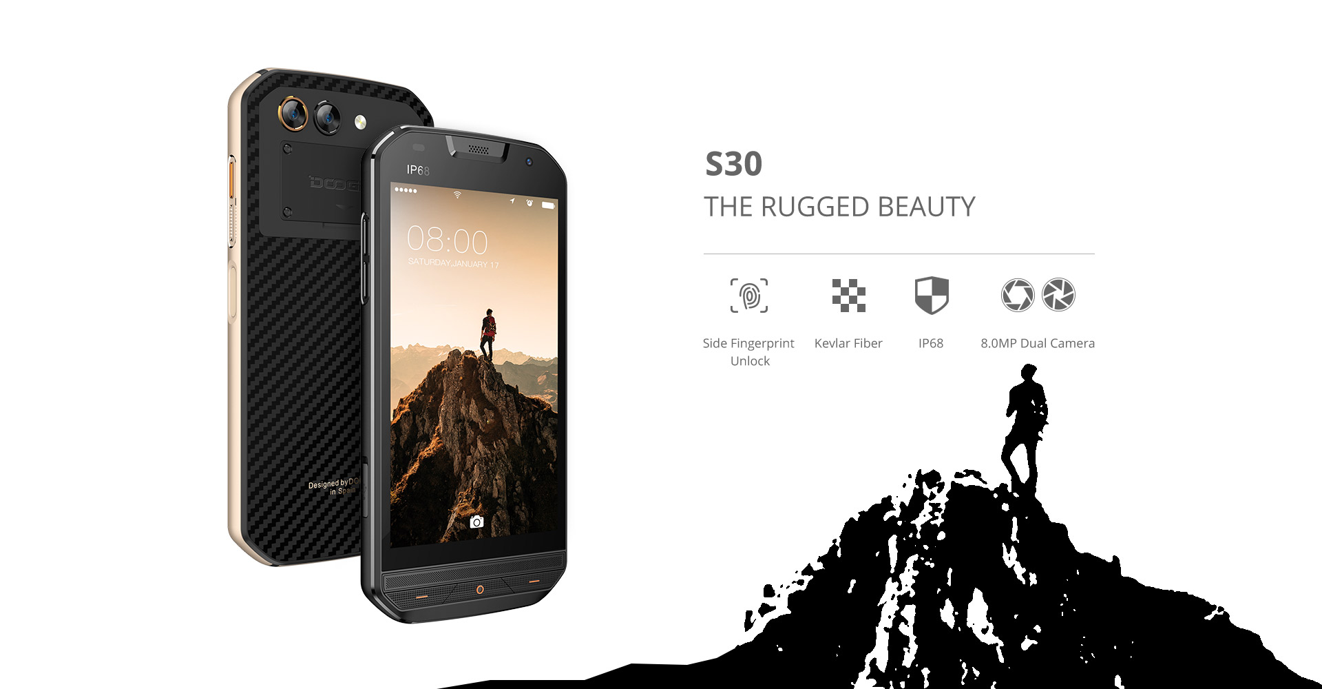 "DOOGEE S30 IP68 Waterproof 8MP Back Dual Cameras Mobile Phone 5580mAh 5.0"" HD Quad Core 2GB+16GB Shockproof 4G Smartphone"