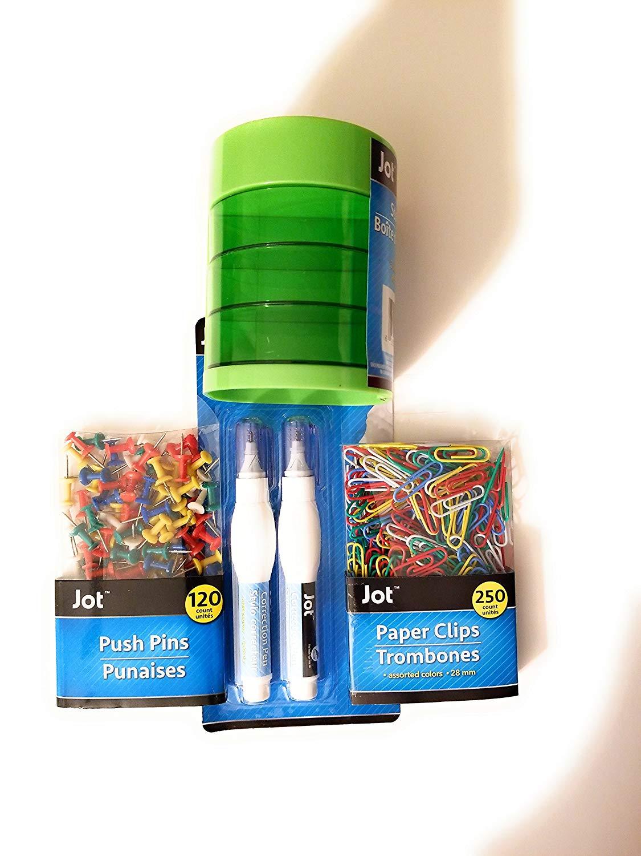 Back to School Student Toddler Pre-School Elementary School Classroom Teacher Student Pre-k Kindergarten Elementary Middle High School Storage Box Push Pins Paper Clips Bonus 2pk of Correction Pens